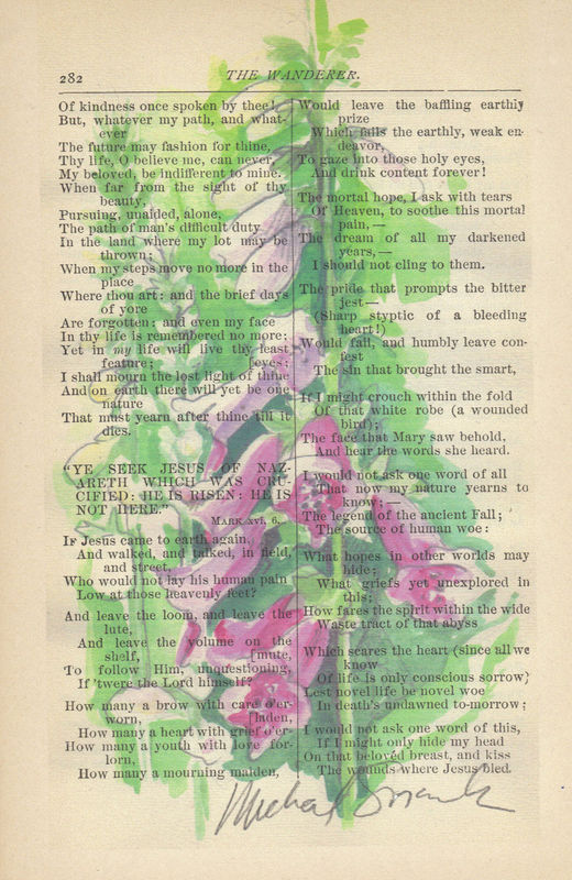 Pink Foxgloves, Watercolor Printed on Antique Book Page - product image