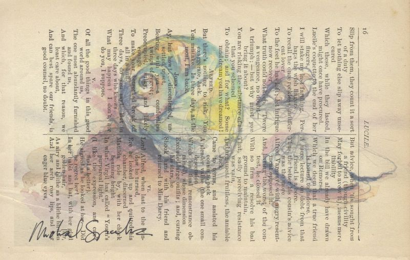 Watercolor Shells Printed on Antique Book Page - product images  of