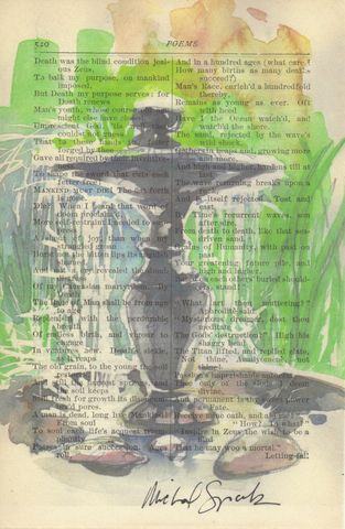 Fountain,Watercolor,on,Antique,Book,Page,Art,Print,Mixed_Media,fountain,garden,watercolor,poetry,antique_book_page,home_decor,signed_print,recycled,free_shipping,team_upcyclers,illustration,etsynj,michal_sparks,antique book page,watercolor print