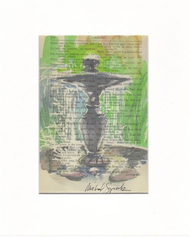 Fountain Watercolor on Antique Book Page - product images  of