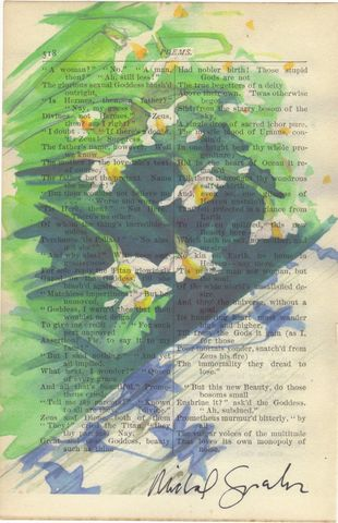 Daffodills,Print,on,Antique,Book,Page,Art,Mixed_Media,daffodill,watercolor,garden,poetry,antique_book_page,signed_print,home_decor,recycled,unique_gift,yellow_flowers,etsynj_team,new_jersey_etsy_team,illustration,antique book page,watercolor print