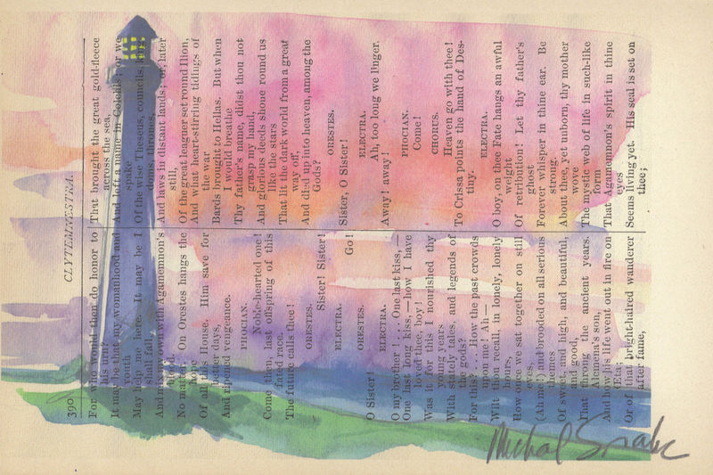 Watercolor Lighthouse Printed on Antique Book Page - product image