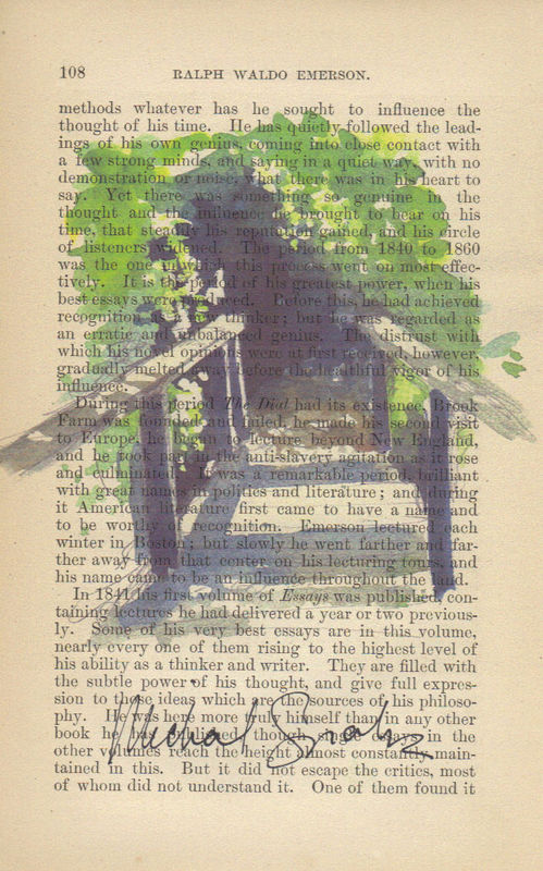 Watercolor Path Print on Antique Page - product image