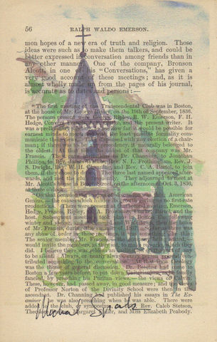 Watercolor,Abbey,Print,on,Antique,Page,Art,Mixed_Media,watercolor,antique_book_page,home_decor,signed_print,recycled,illustration,mothers_day,womens_gift,Religious_Art,inspirational_art,Landscape,architectural_art,antique poetry page,watercolor print