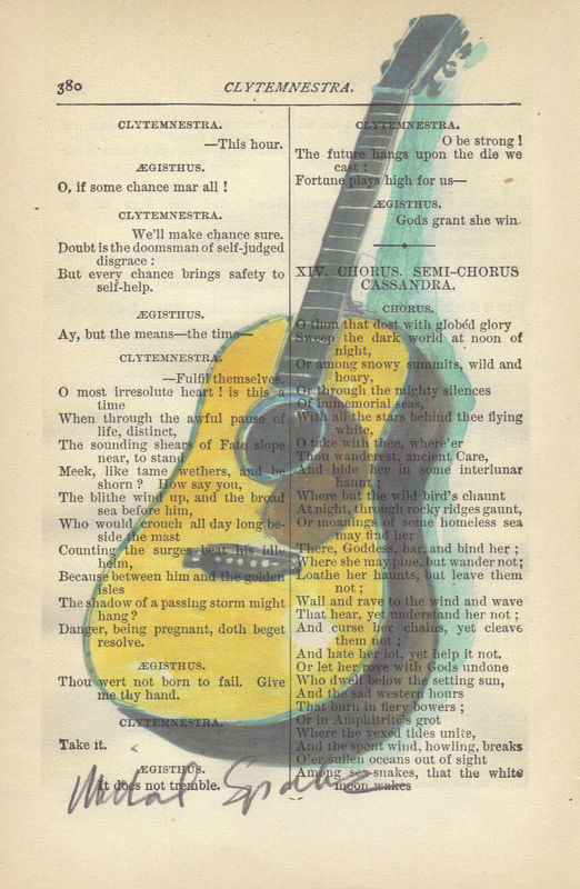 Watercolor Painting, Guitar, print on antique book page - product image