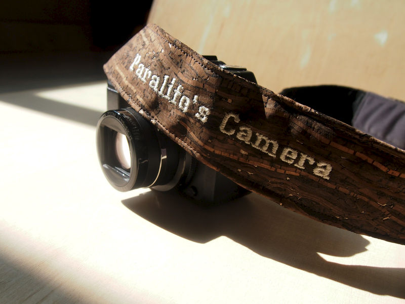 Wooden grain cork camera strap (4 cm) (Add on Embroidery Name) - product images  of