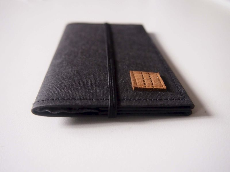 Black denim tag paper card holder - product images  of