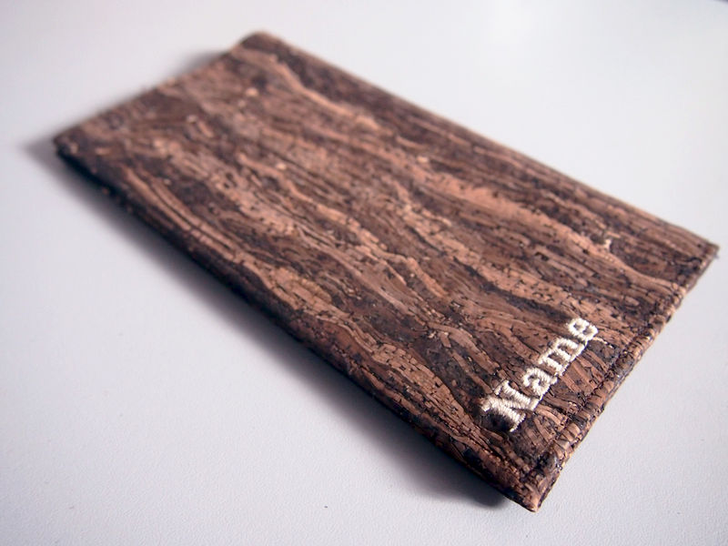 Paralife YOUR NAME's Wooden Grain Cork Long Passport Holder - product images  of