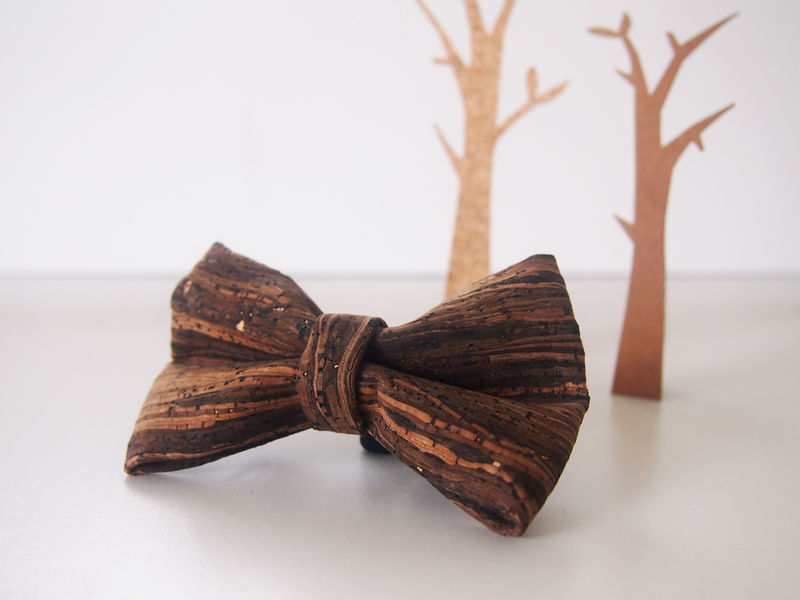 Wooden Grain Cork Mens Bowtie - product images  of