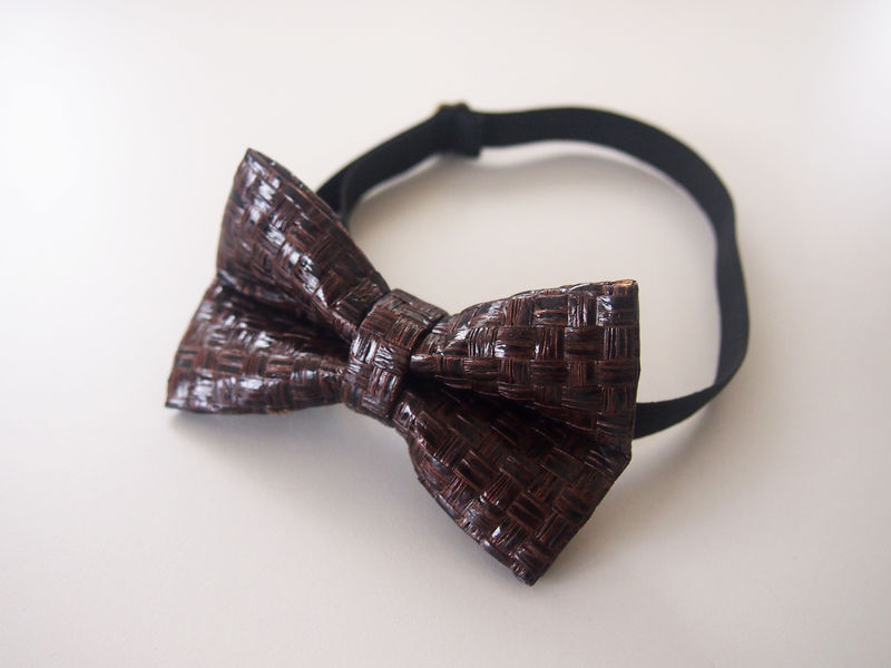 Dark Brown Grass Woven Mens Bowtie - product images  of