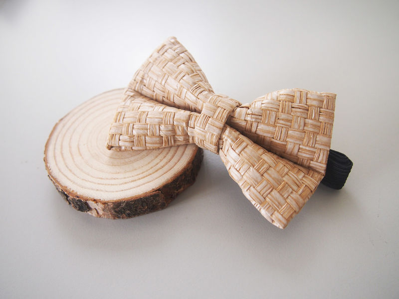 White Grass Woven Bowtie - product images  of