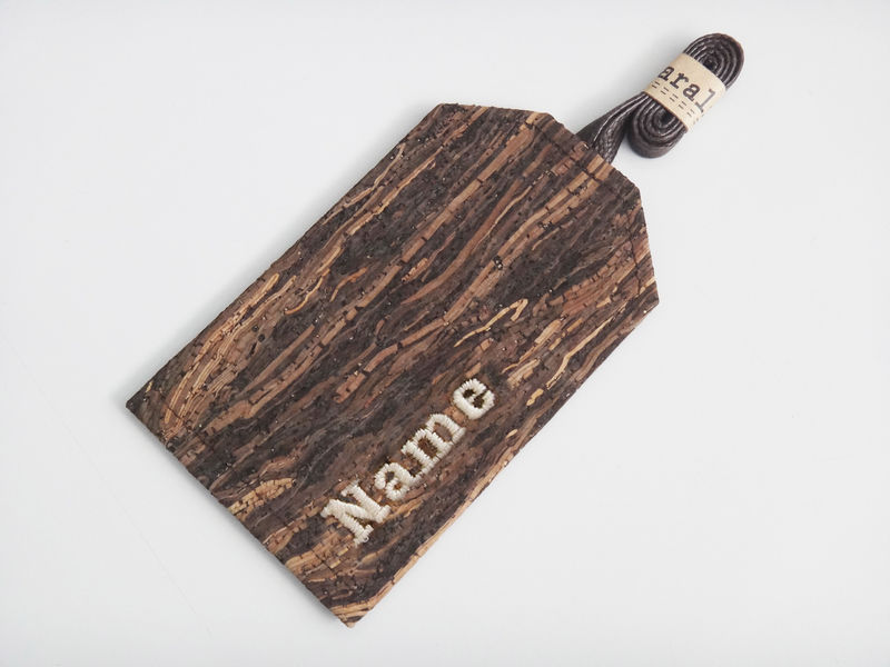 Paralife Personalized YOUR NAME's Wooden Grain Cork Luggage Tag - product images  of