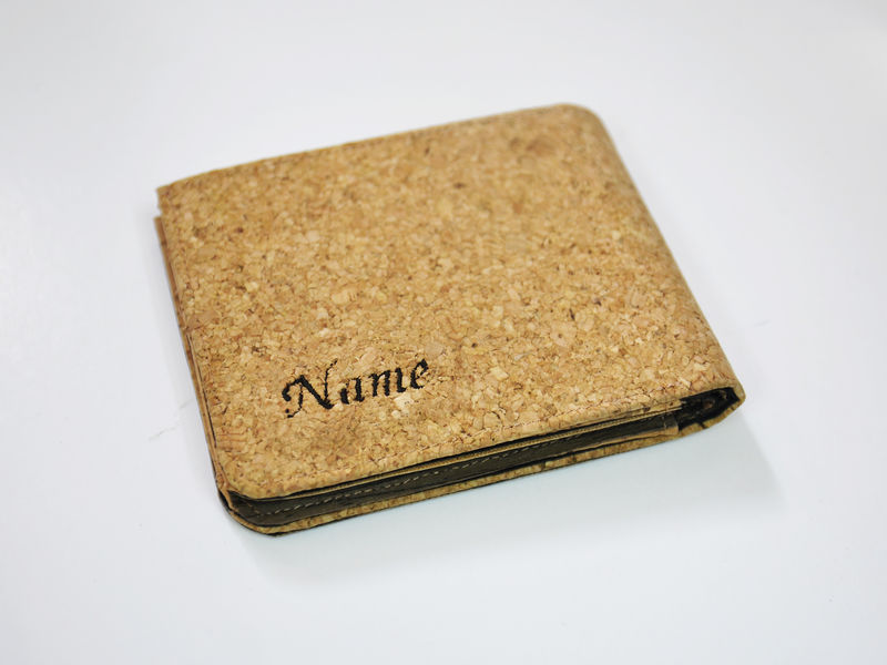 Personalized Name Mixed Wooden Cork Wood Bifold Wallet / Clutch / Handbag / Purse / Men Women slim Mens Short wallet / card holder Real Wood - product images  of