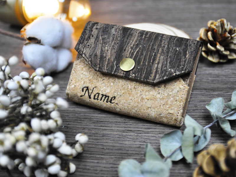 Personalized Name Mixed Cork ID card holder coin case - product images  of