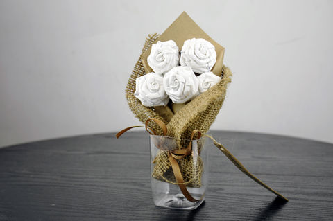White,Paper,Tyvek®,Rose,Flower,Bouquet,Hair,Band,Tie