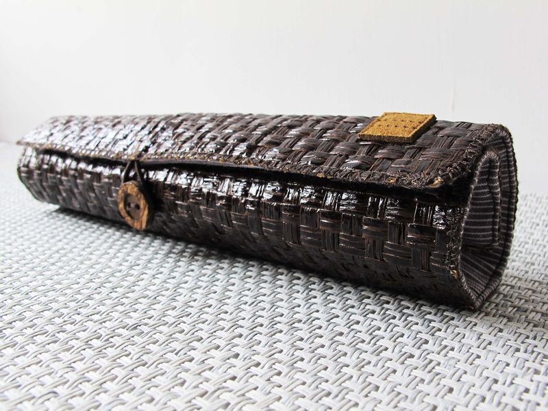 Dark brown grass woven pencil pouch - product images  of