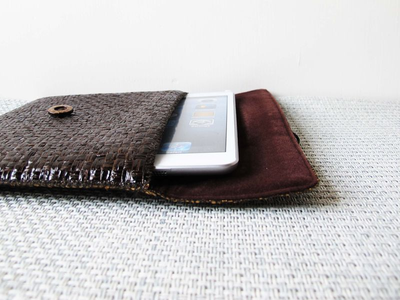 "Dark brown grass woven computer / tablet bag (custom made for any model between 6""-8"") - product images  of"