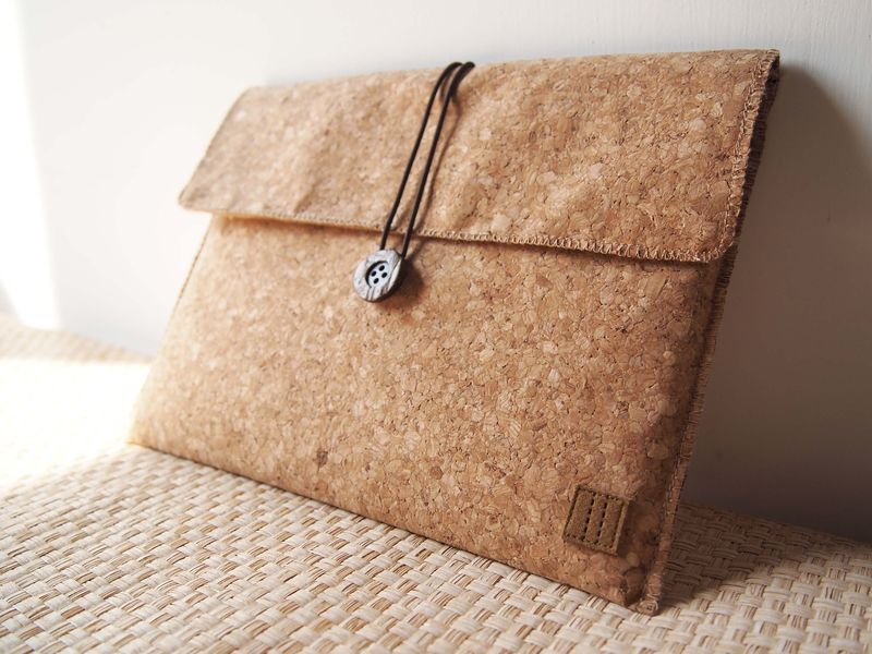 "Cork computer / tablet bag  (custom made for any model between 8.1""-11"") - product images  of"