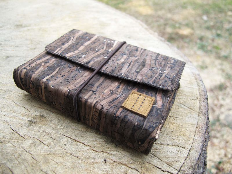 Wooden grain cork coin case - product images  of