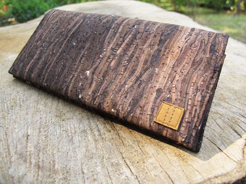 Wooden grain cork long wallet - product images  of