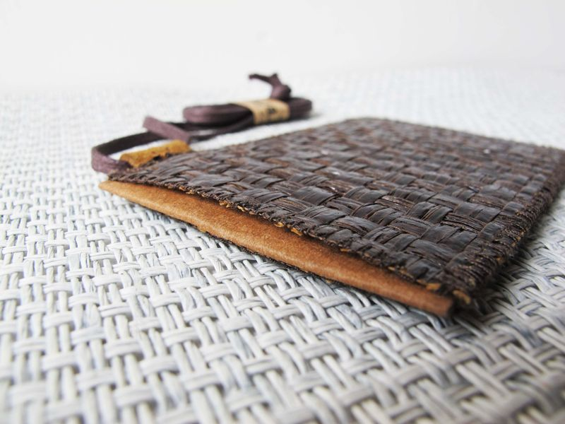 Dark brown grass woven card holder (custom made size) - product images  of