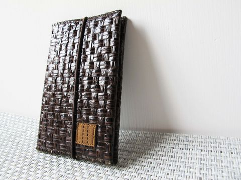 Dark,brown,grass,woven,card,holder,(,with,elastic,),(custom,made,size)