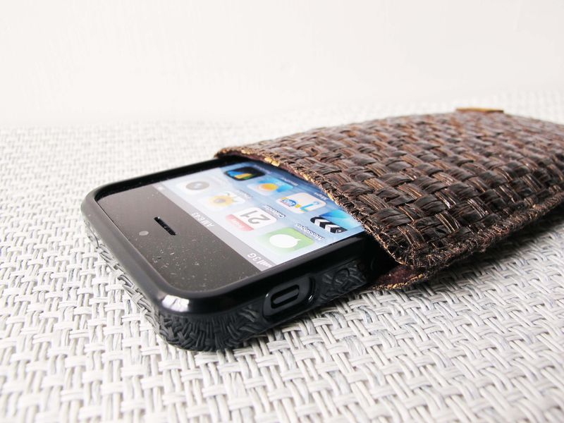 Dark brown grass woven phone sleeve (custom made for any model) - product images  of