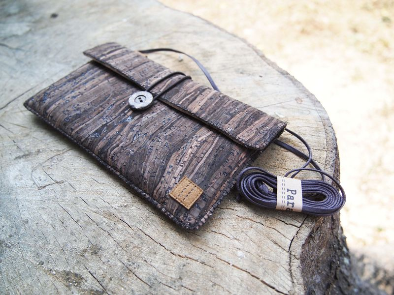 Wooden grain cork phone bag with cover (horizontal)  (custom made for any model) - product images  of
