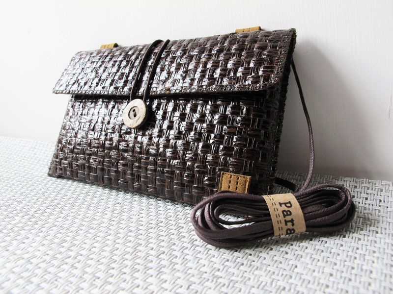 Dark brown grass woven phone bag with cover (horizontal) (custom made for any model) - product images  of