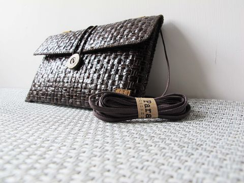 Dark,brown,grass,woven,phone,bag,with,cover,(horizontal),(custom,made,for,any,model)