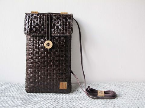 Dark,brown,grass,woven,phone,bag,with,cover,(vertical),(custom,made,for,any,model)