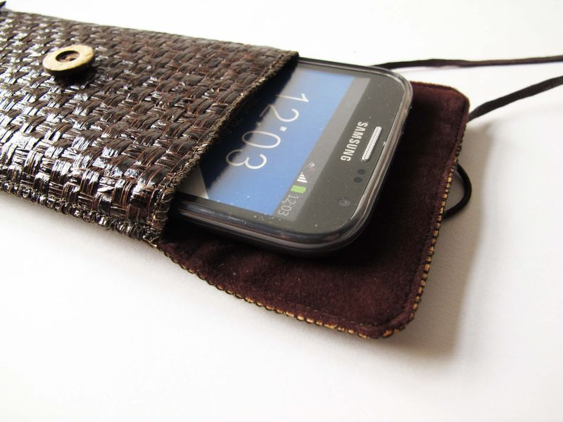 Dark brown grass woven phone bag with cover (vertical) (custom made for any model) - product images  of