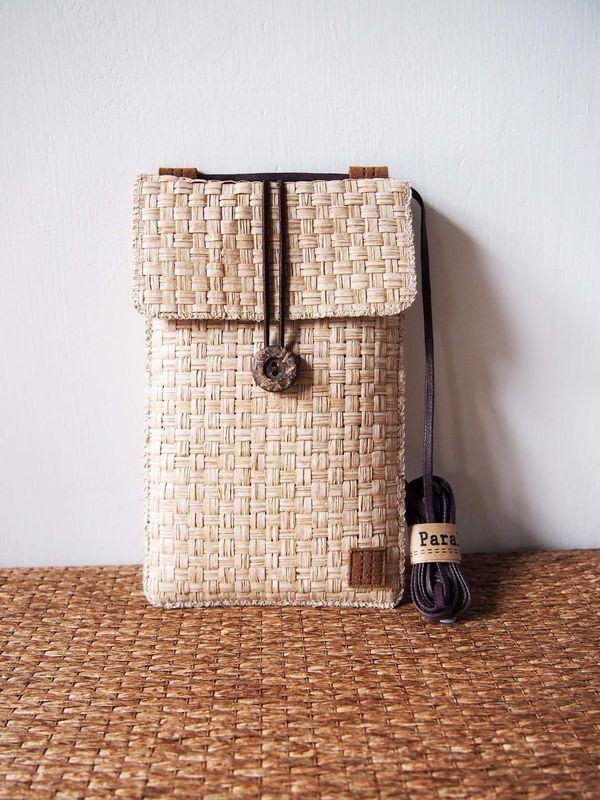 White brown grass woven phone bag with cover (vertical) (custom made for any model) - product images  of