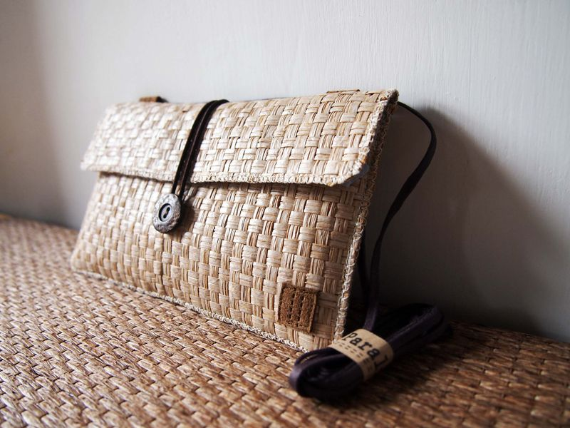 White brown grass woven phone bag with cover (horizontal) (custom made for any model) - product images  of