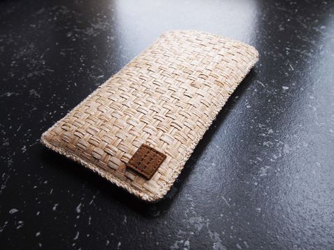 White,brown,grass,woven,phone,sleeve,(custom,made,for,any,model)