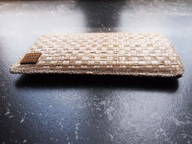 White brown grass woven phone sleeve (custom made for any model) - product images  of