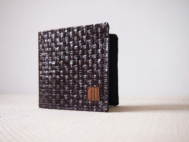 Dark brown grass woven wallet - product images  of