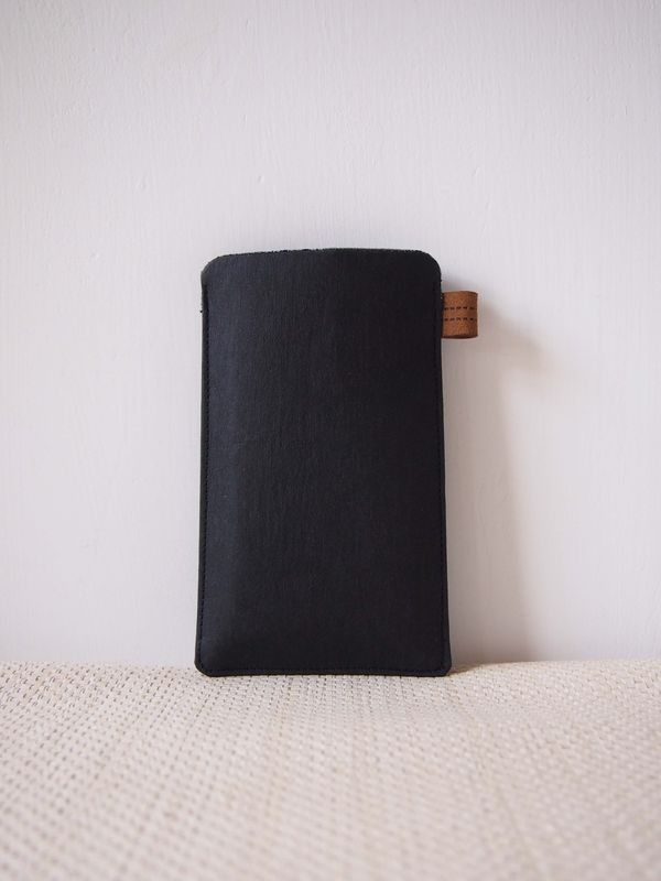 Black denim tag paper phone sleeve (custom made for any model) - product images  of