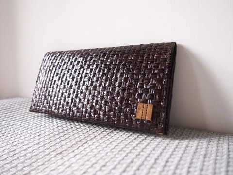 Dark,brown,grass,woven,long,wallet