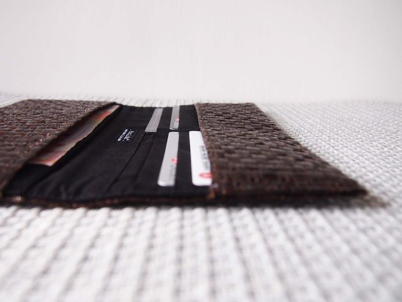 Dark brown grass woven long wallet - product images  of