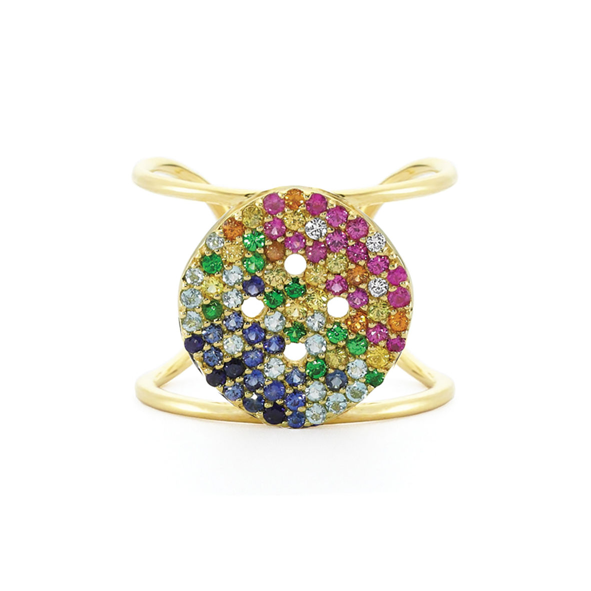 XL Rainbow Button Ring - product image