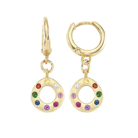 Oval,Rainbow,Earrings