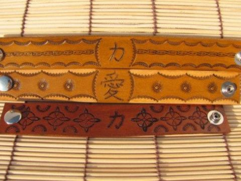 Kanji Leather Bracelets With Decorative Stamped Designs Product Images Of