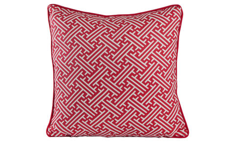 Bhutan,Lattice,Red,Cushion,Cover,18