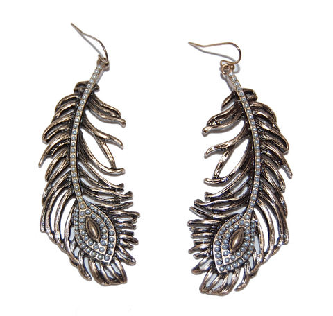 Antique Bronze Feather Design Drop Earrings - Green (Organza Gift Pouch Included). T0qGqck