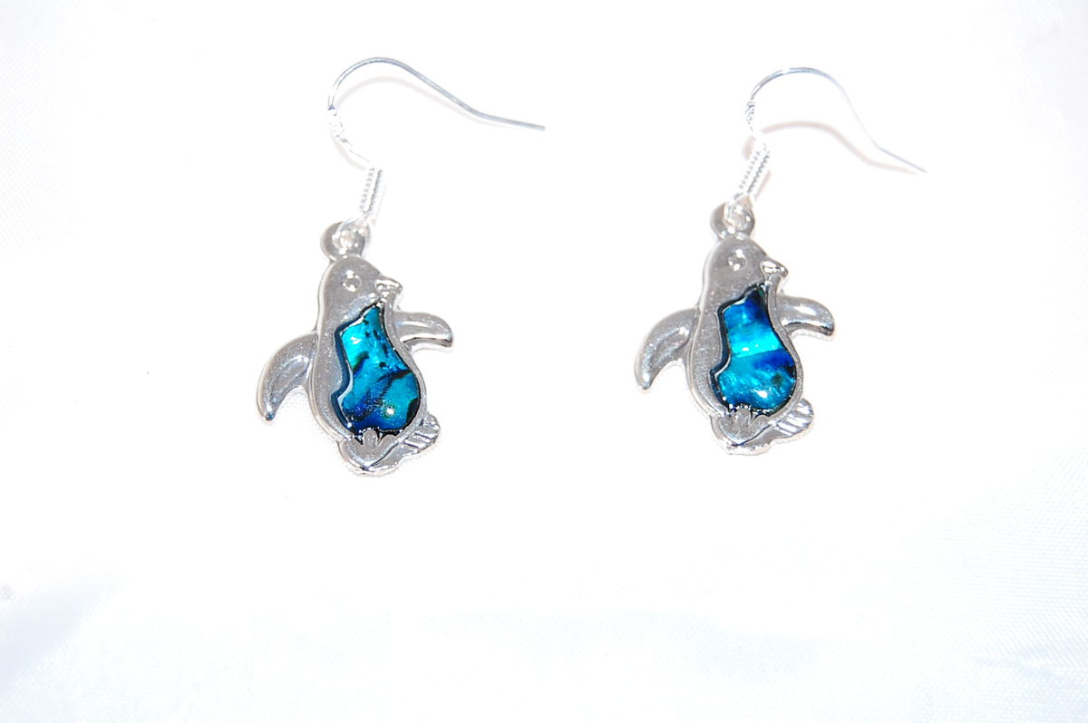 244e4c5a85b59 Penguin Drop Hook Earrings with Sea Abalone Shell and 925 Sterling Silver  Hooks Anti-Tarnish (in an Organza Gift Pouch ) Fashion Jewellery