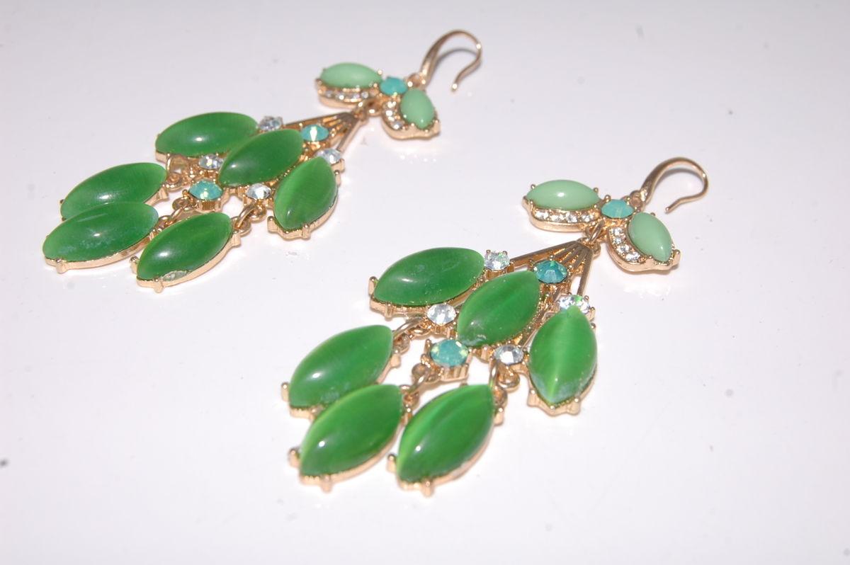 Emerald green chandelier drop hook statement earrings with cats eye emerald green chandelier drop hook statement earrings with cats eye stones in an organza gift mozeypictures Gallery