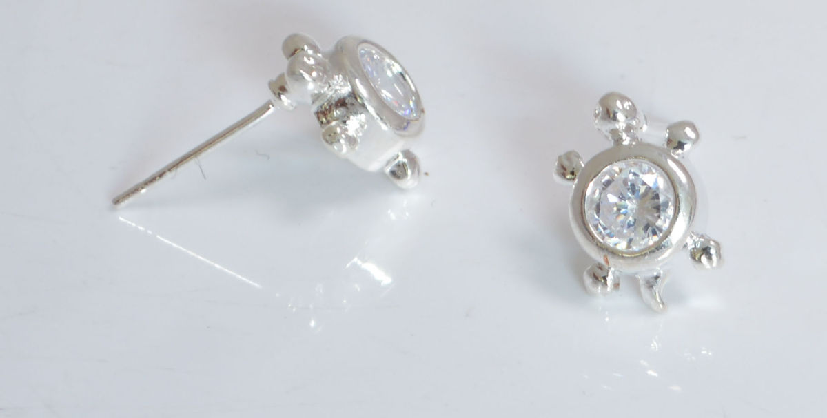 White Gold Plated Little Turtle Stud Earrings With Cubic Zirconia Crystals Organza Gift Pouch Included