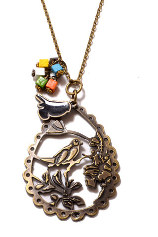 Beautiful,Brass,Bird,Cameo,with,Dangling,Charms,Long,Necklace,(Organza,Gift,Pouch,Included).,Beautiful Brass Bird Cameo with Dangling Charms Long Necklace  (Organza Gift Pouch Included).