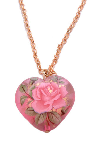 Vintage,Rose,Print,Acrylic,Heart,Short,Necklace,20'',(Organza,Gift,Pouch,Included).,Vintage Rose Print Acrylic Heart Short Necklace 20'' (Organza Gift Pouch Included).